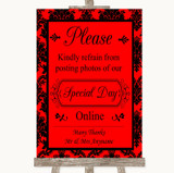 Red Damask Don't Post Photos Online Social Media Customised Wedding Sign