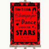 Red Damask Drink Champagne Dance Stars Customised Wedding Sign