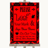 Red Damask Fingerprint Tree Instructions Customised Wedding Sign