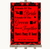 Red Damask Friends Of The Bride Groom Seating Customised Wedding Sign