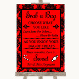 Red Damask Grab A Bag Candy Buffet Cart Sweets Customised Wedding Sign