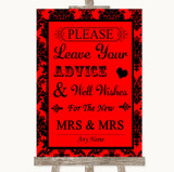 Red Damask Guestbook Advice & Wishes Lesbian Customised Wedding Sign