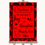 Red Damask Hankies And Tissues Customised Wedding Sign