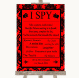 Red Damask I Spy Disposable Camera Customised Wedding Sign