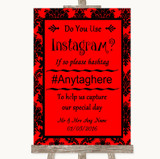 Red Damask Instagram Photo Sharing Customised Wedding Sign