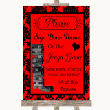 Red Damask Jenga Guest Book Customised Wedding Sign