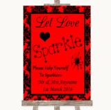 Red Damask Let Love Sparkle Sparkler Send Off Customised Wedding Sign