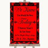 Red Damask Loved Ones In Heaven Customised Wedding Sign