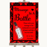 Red Damask Message In A Bottle Customised Wedding Sign