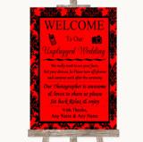 Red Damask No Phone Camera Unplugged Customised Wedding Sign