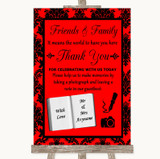 Red Damask Photo Guestbook Friends & Family Customised Wedding Sign