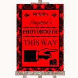Red Damask Photobooth This Way Right Customised Wedding Sign