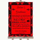 Red Damask Pick A Prop Photobooth Customised Wedding Sign