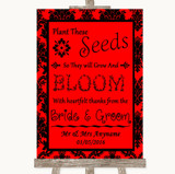 Red Damask Plant Seeds Favours Customised Wedding Sign