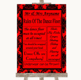 Red Damask Rules Of The Dancefloor Customised Wedding Sign
