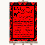 Red Damask Signature Favourite Drinks Customised Wedding Sign