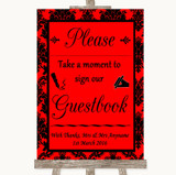 Red Damask Take A Moment To Sign Our Guest Book Customised Wedding Sign