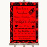 Red Damask Wedpics App Photos Customised Wedding Sign