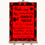 Red Damask Welcome Order Of The Day Customised Wedding Sign
