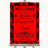Red Damask Welcome To Our Engagement Party Customised Wedding Sign
