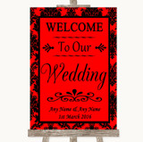 Red Damask Welcome To Our Wedding Customised Wedding Sign