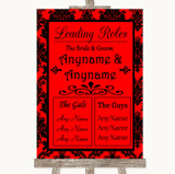 Red Damask Who's Who Leading Roles Customised Wedding Sign