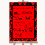 Red Damask Wishing Well Message Customised Wedding Sign