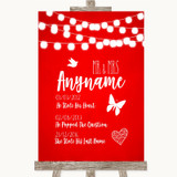 Red Watercolour Lights Important Special Dates Customised Wedding Sign