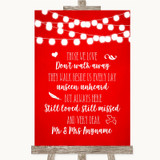 Red Watercolour Lights In Loving Memory Customised Wedding Sign