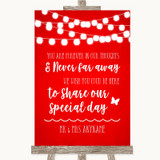 Red Watercolour Lights In Our Thoughts Customised Wedding Sign