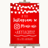 Red Watercolour Lights Instagram Hashtag Customised Wedding Sign