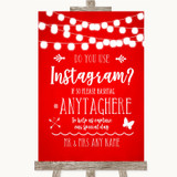 Red Watercolour Lights Instagram Photo Sharing Customised Wedding Sign