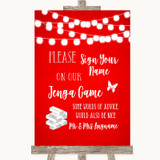 Red Watercolour Lights Jenga Guest Book Customised Wedding Sign