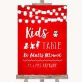 Red Watercolour Lights Kids Table Customised Wedding Sign