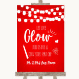 Red Watercolour Lights Let Love Glow Glowstick Customised Wedding Sign