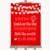 Red Watercolour Lights Light Up The Sky Rule The World Customised Wedding Sign