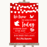 Red Watercolour Lights Loved Ones In Heaven Customised Wedding Sign