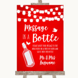 Red Watercolour Lights Message In A Bottle Customised Wedding Sign