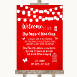 Red Watercolour Lights No Phone Camera Unplugged Customised Wedding Sign