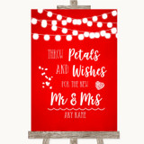 Red Watercolour Lights Petals Wishes Confetti Customised Wedding Sign