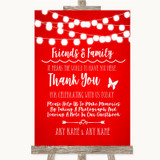 Red Watercolour Lights Photo Guestbook Friends & Family Wedding Sign