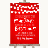 Red Watercolour Lights Photo Prop Guestbook Customised Wedding Sign