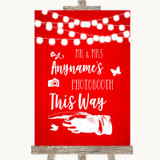 Red Watercolour Lights Photobooth This Way Left Customised Wedding Sign