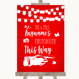Red Watercolour Lights Photobooth This Way Right Customised Wedding Sign