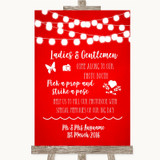 Red Watercolour Lights Pick A Prop Photobooth Customised Wedding Sign