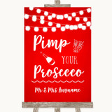 Red Watercolour Lights Pimp Your Prosecco Customised Wedding Sign