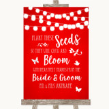 Red Watercolour Lights Plant Seeds Favours Customised Wedding Sign