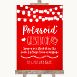 Red Watercolour Lights Polaroid Guestbook Customised Wedding Sign