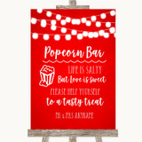 Red Watercolour Lights Popcorn Bar Customised Wedding Sign