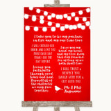 Red Watercolour Lights Romantic Vows Customised Wedding Sign